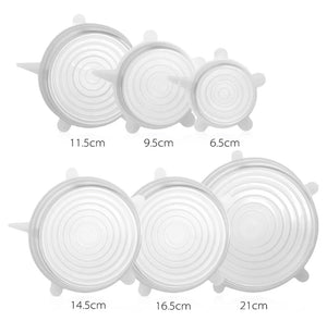 Silicone Reusable Clear Stretchy Lids 6 Pack