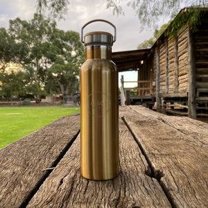 Stainless Steel Insulated 600ml Drink Bottle with Bamboo Top Screw Lid - Gold Painted