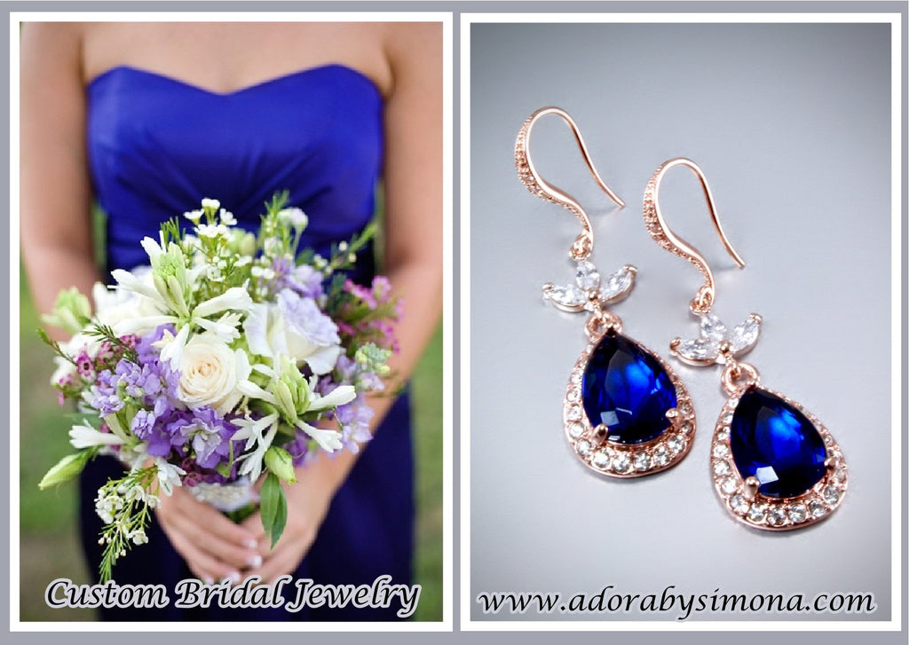 """Skye"" - Rose Gold and Sapphire Blue Cubic Zirconia Bridal Earrings"