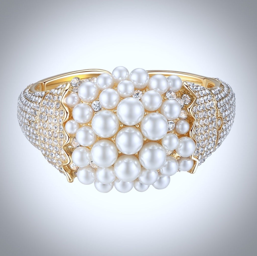 """Crisantha"" - Pearl and Cubic Zirconia Gold Bridal Bracelet"