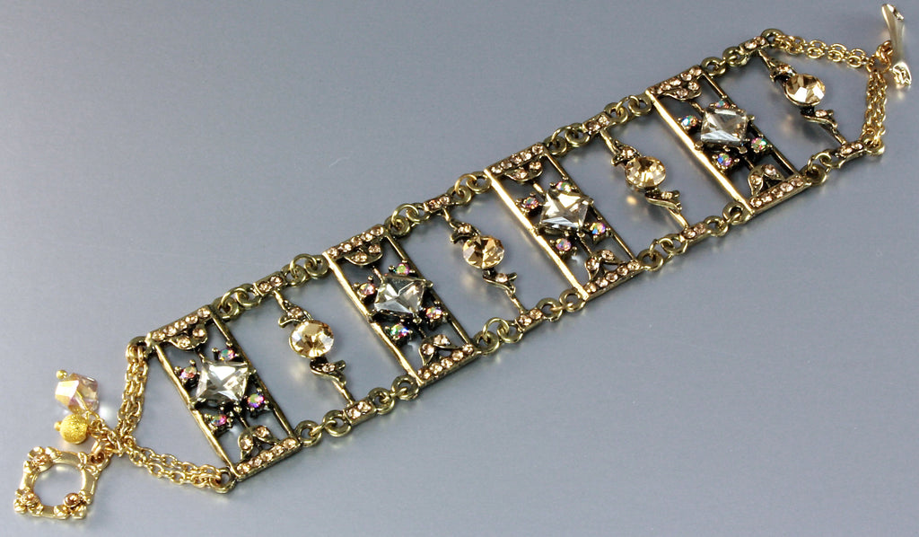 """Ladder To My Heart"" - Swarovski Crystal and Antiqued Brass Bracelet"