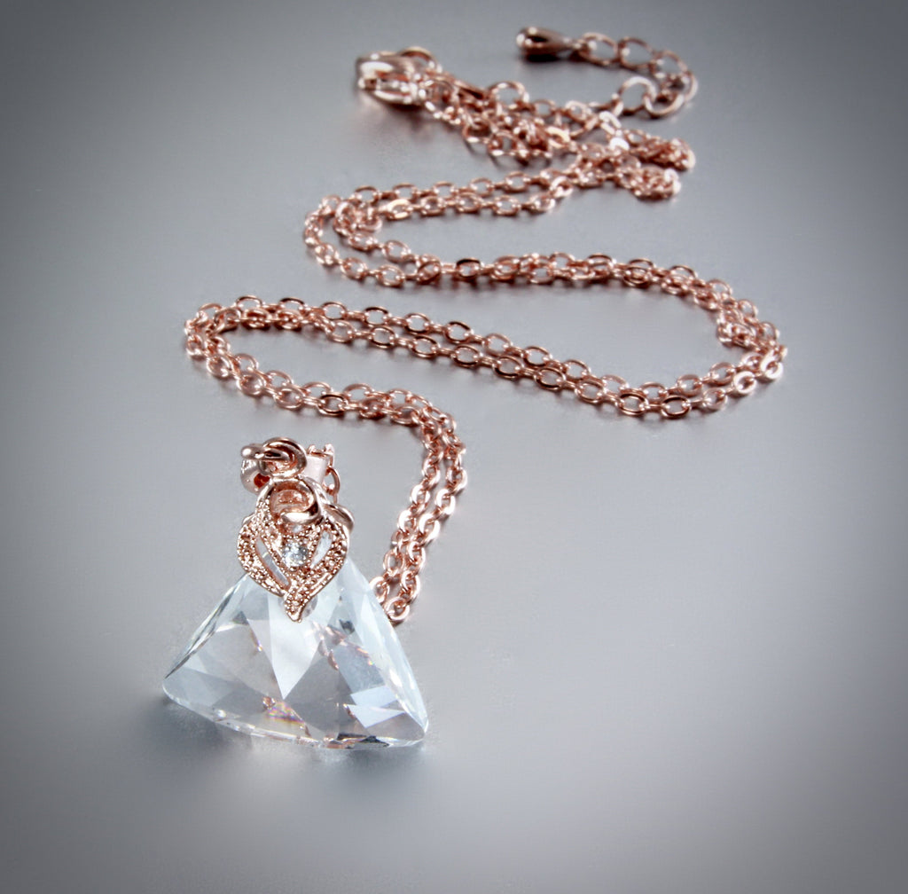 """Leah"" - Swarovski Crystal and 14K Rose Gold-Filled Necklace"