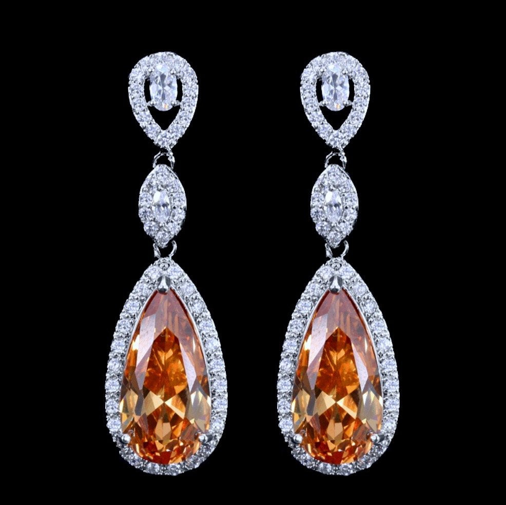 """Amy"" - Silver Cubic Zirconia Bridal Earrings - More Colors Available"