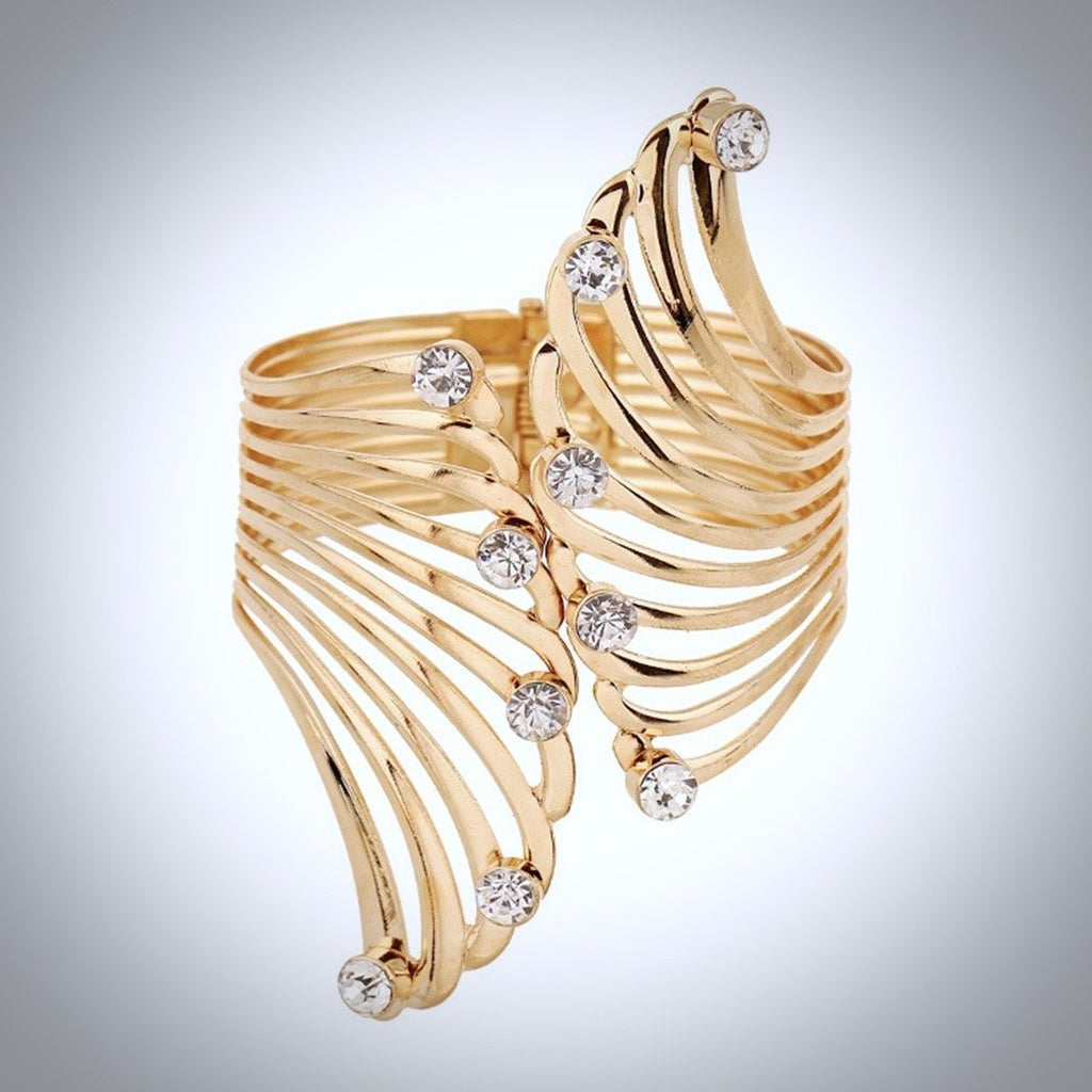 """Hollywood"" - Cubic Zirconia Gold Cuff Bracelet"