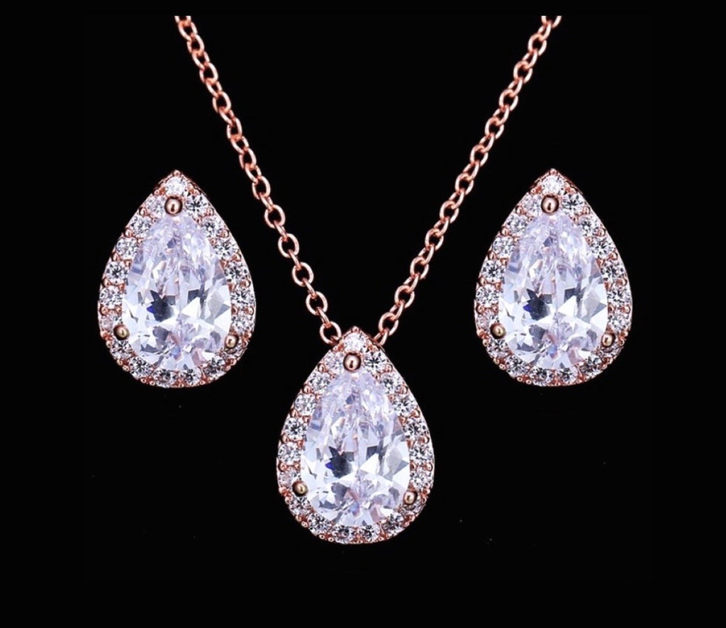 """Tina"" - Cubic Zirconia Jewelry Set - Available in Silver, Rose Gold and Yellow Gold"