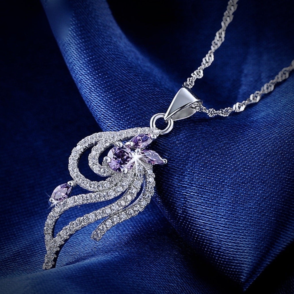 """Aster"" - Purple Cubic Zirconia Necklace in Sterling Silver"