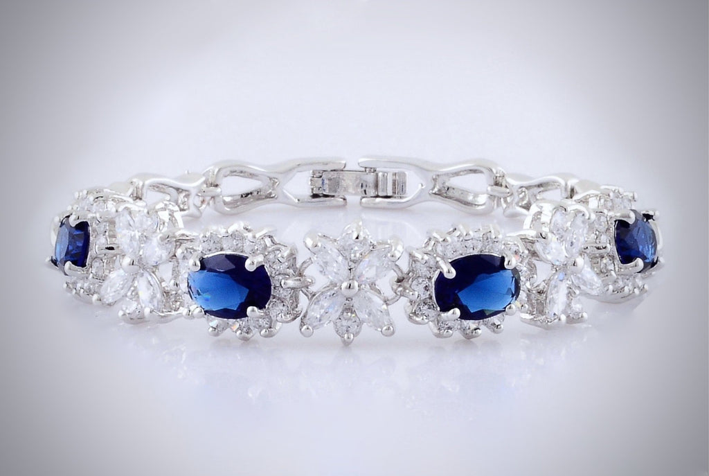 Wedding Jewelry - Blue Cubic Zirconia Bridal Bracelet
