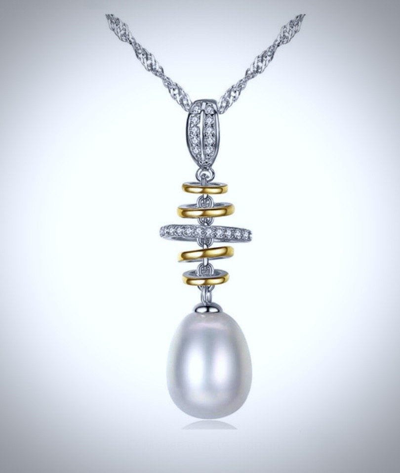 """Latitudes"" - Freshwater Pearl Bridal Necklace in Sterling Silver"