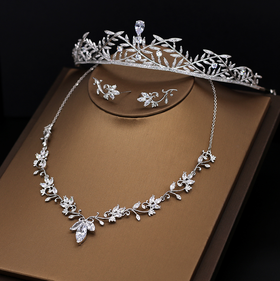 """Julia"" - Silver Cubic Zirconia Bridal 3-Piece Jewelry Set With Tiara"