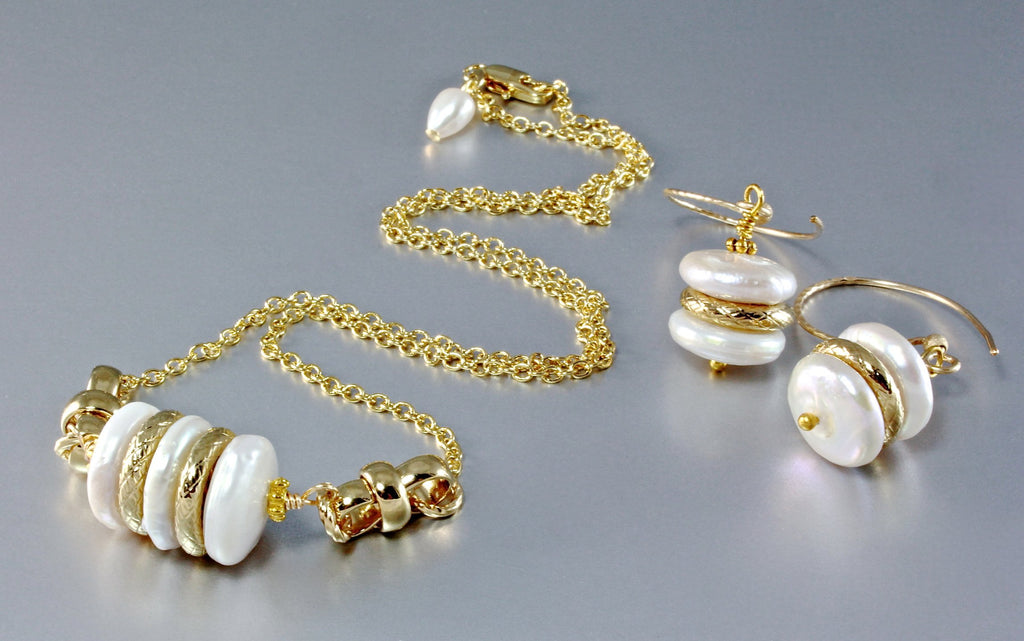 """Mystère"" - Cultured Pearl and 18K Gold-Filled Necklace/Earrings/Set"