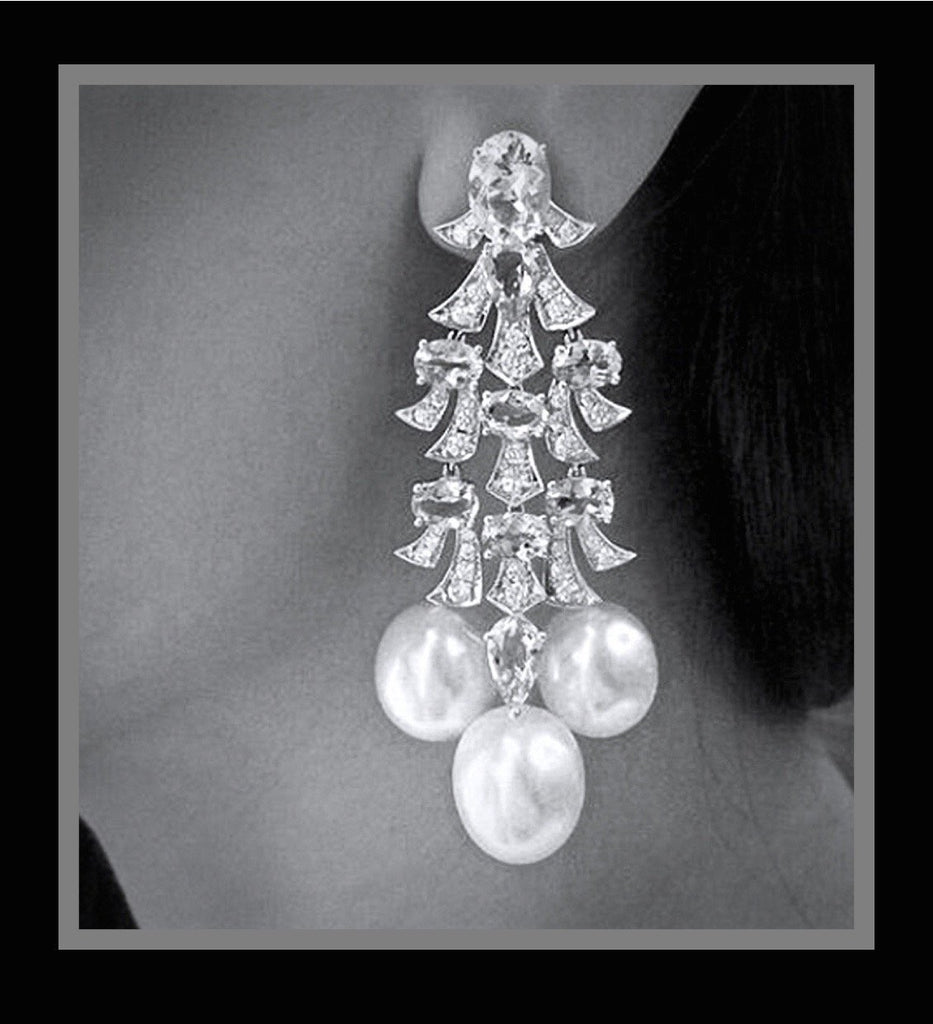 """Phoenix"" - Pearl and Cubic Zirconia Bridal Earrings"