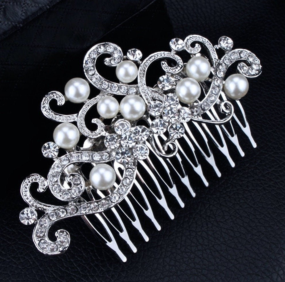 """Florence"" - Silver Pearl and Crystal Bridal Hair Comb"