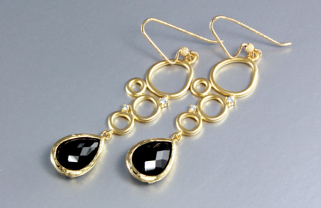 """Ella"" - Black Onyx Drop Earrings"
