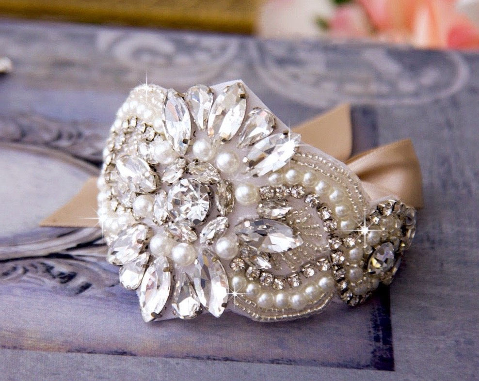 """Olivia"" - Pearl and Crystal Wedding Wrist Corsage Cuff Bracelet - Available in Silver and Rose Gold"