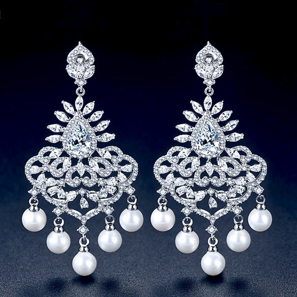 """Roxanne"" - Pearl and Cubic Zirconia Bridal Earrings"