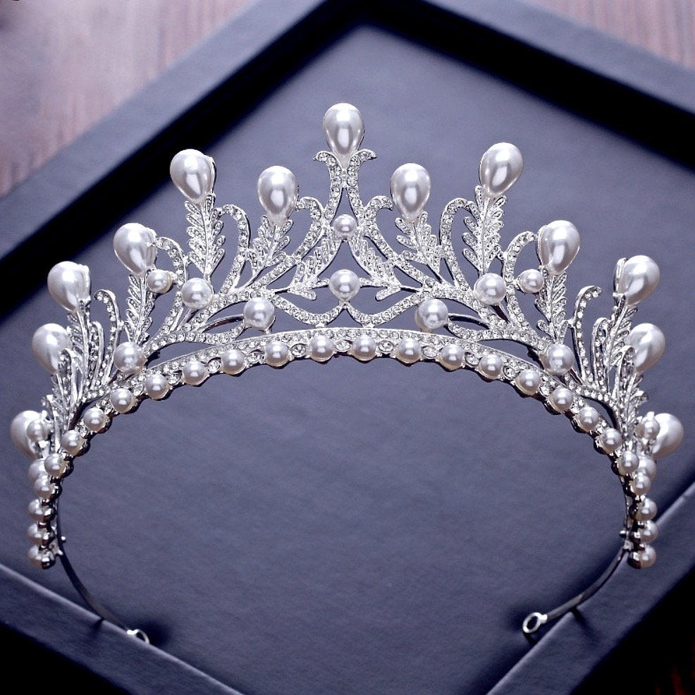 """Monique"" - Wedding Pearl and Cubic Zirconia Tiara"