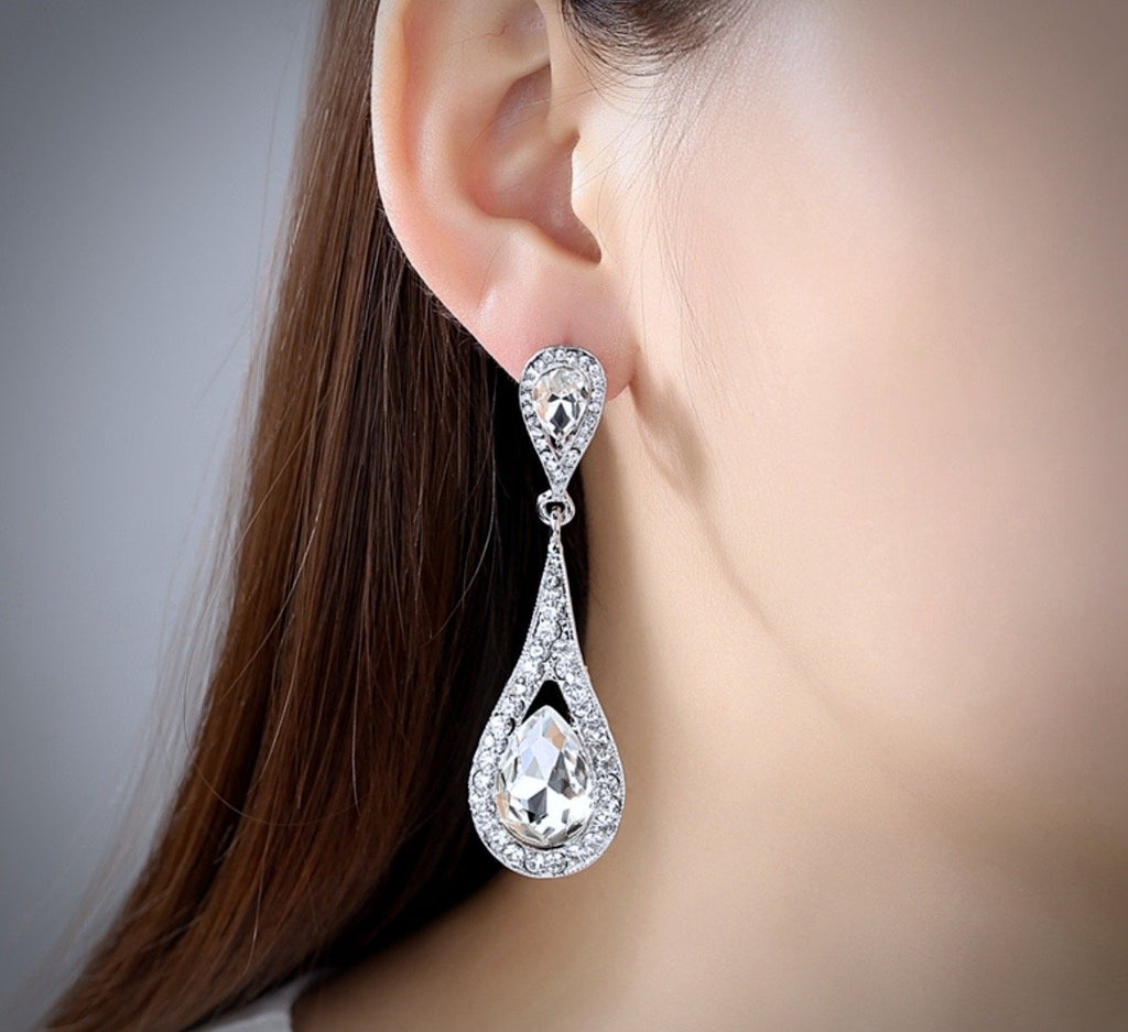 """Lorna"" - Crystal Bridal Earrings - Available in Silver and Gold"