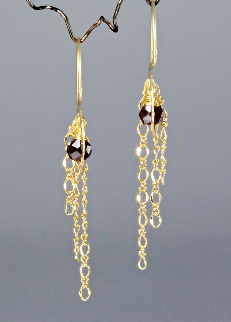 """Chantal"" - Garnet Earrings With A Twist"