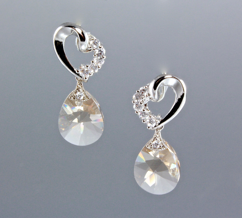"""Princess"" - Swarovski Crystal Heart Earrings"