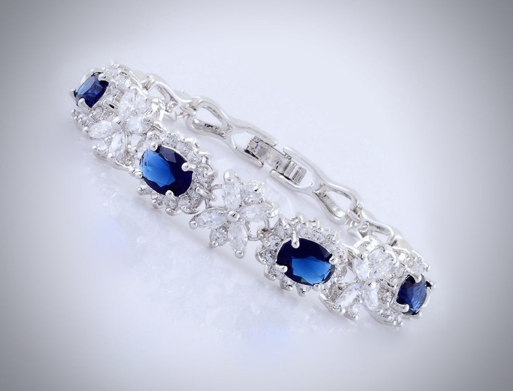 """Eleanor"" - Blue Cubic Zirconia Bridal Bracelet"