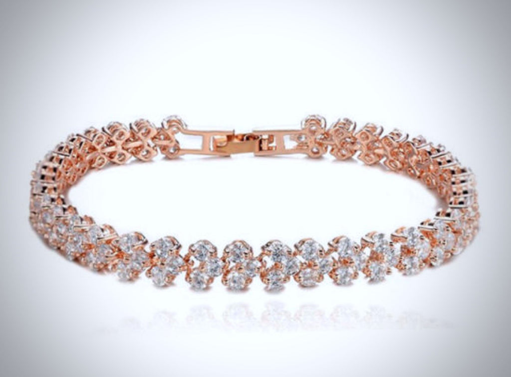 """Milan"" - Cubic Zirconia Rose Gold Bracelet and Earrings Set"