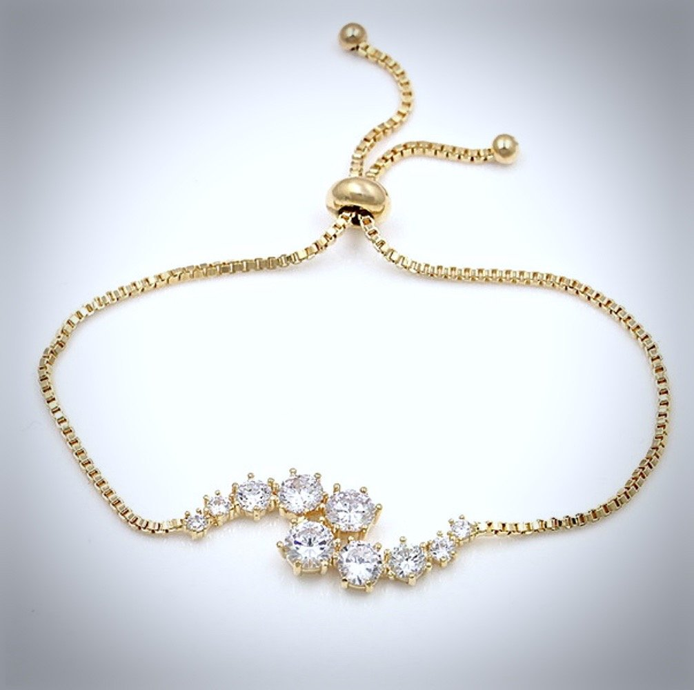 """Denise"" - Cubic Zirconia Adjustable Bracelet - Available in Silver, Rose Gold and Yellow Gold"