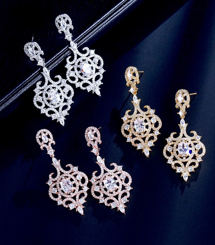 Wedding Jewelry - Cubic Zirconia Bridal Earrings - Available in Rose Gold, Silver and Yellow Gold