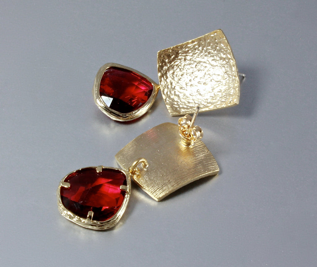 """Passion"" - Red Cubic Zirconia Earrings"