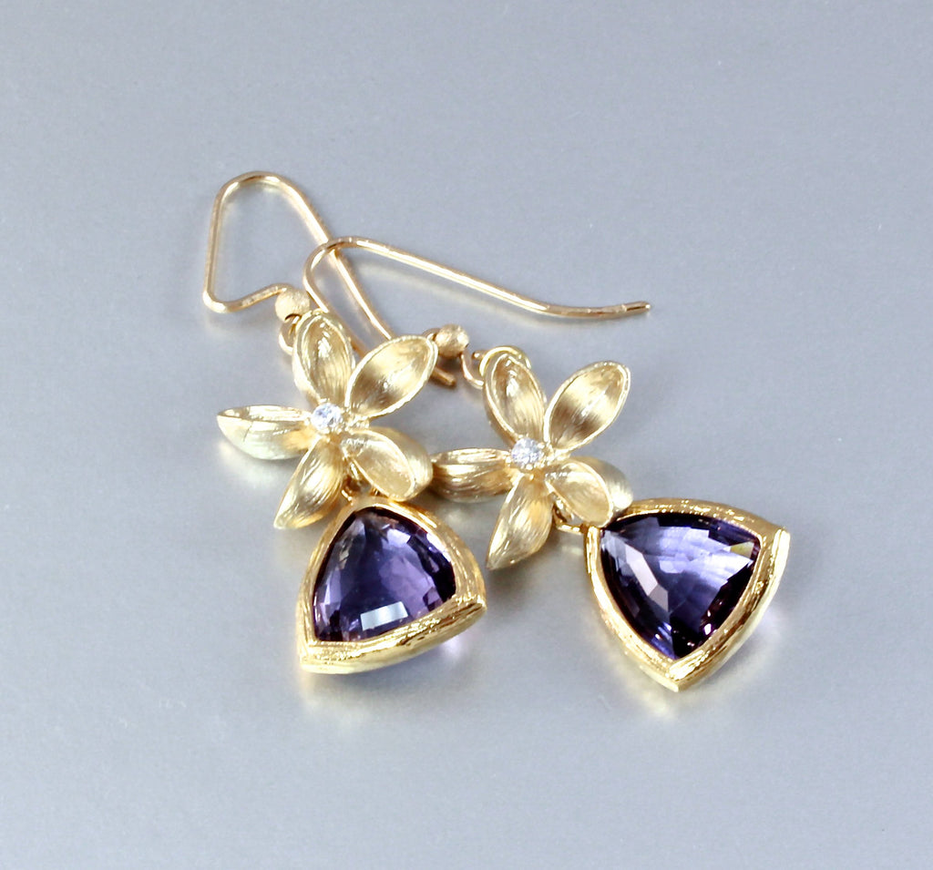 """Ariadna"" - Lab-Created Tanzanite and 14K Gold-Filled Earrings"