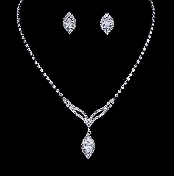 """Margaret"" - Crystal Bridal Necklace and Earrings Set"