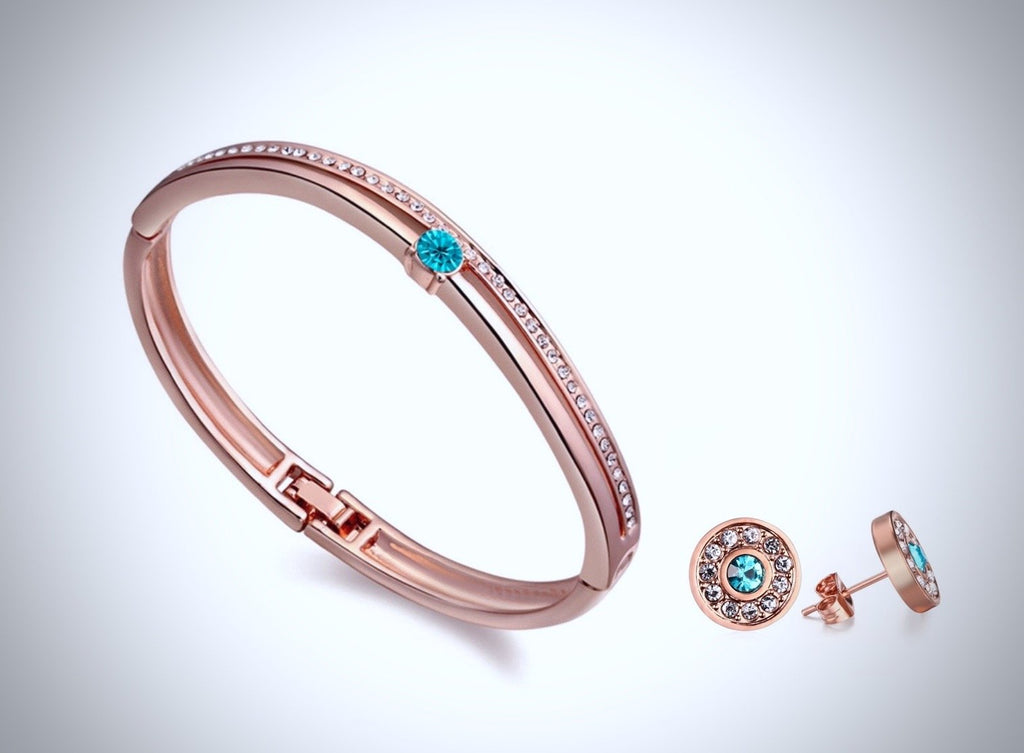 """Nicole"" - Rose Gold and Cubic Zirconia Bracelet and Earrings Set"