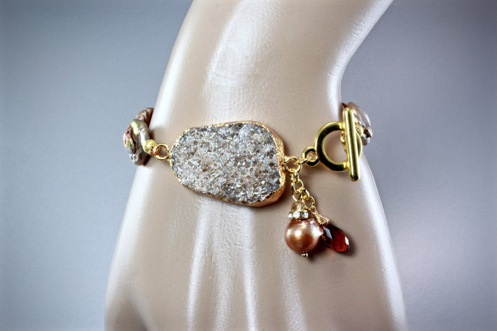 """Evelyn"" - Drusy Agate and Pearl Bracelet"