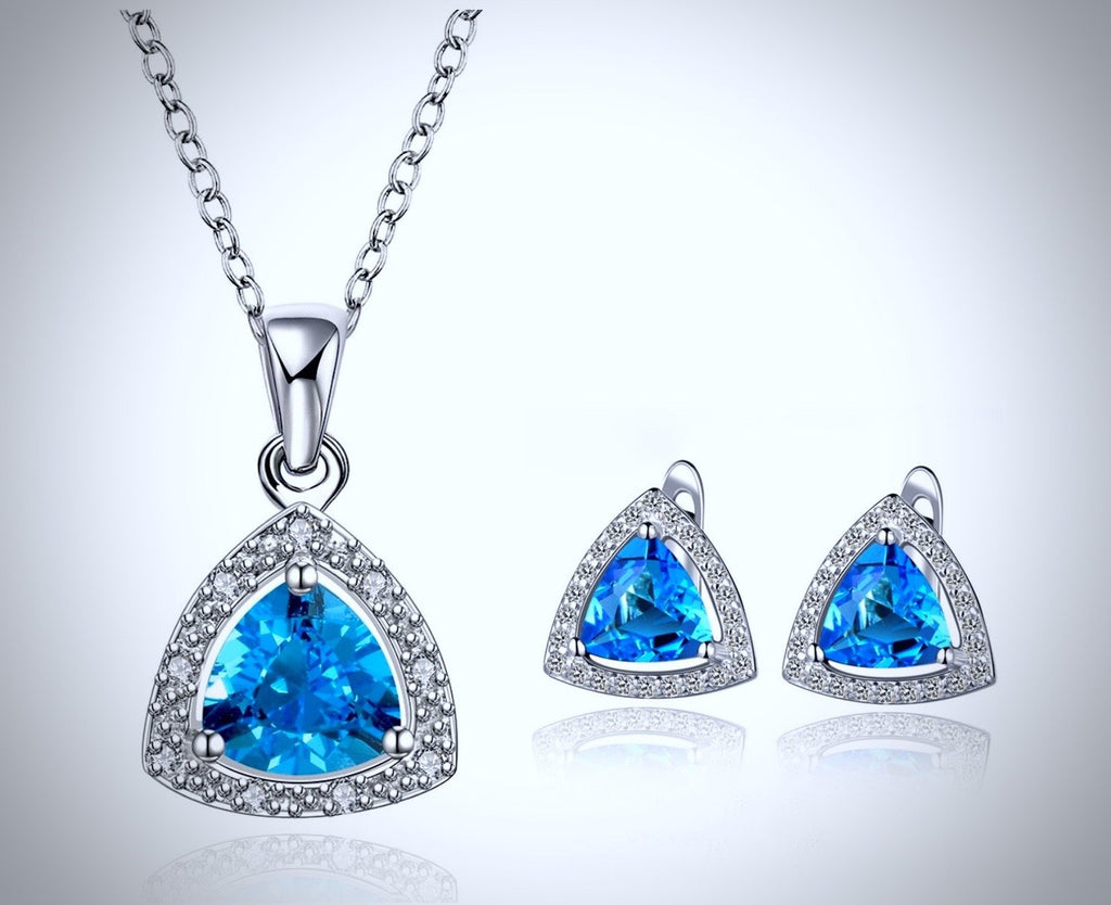"""Celeste"" - Geometric Cubic Zirconia Necklace and Earrings Set"