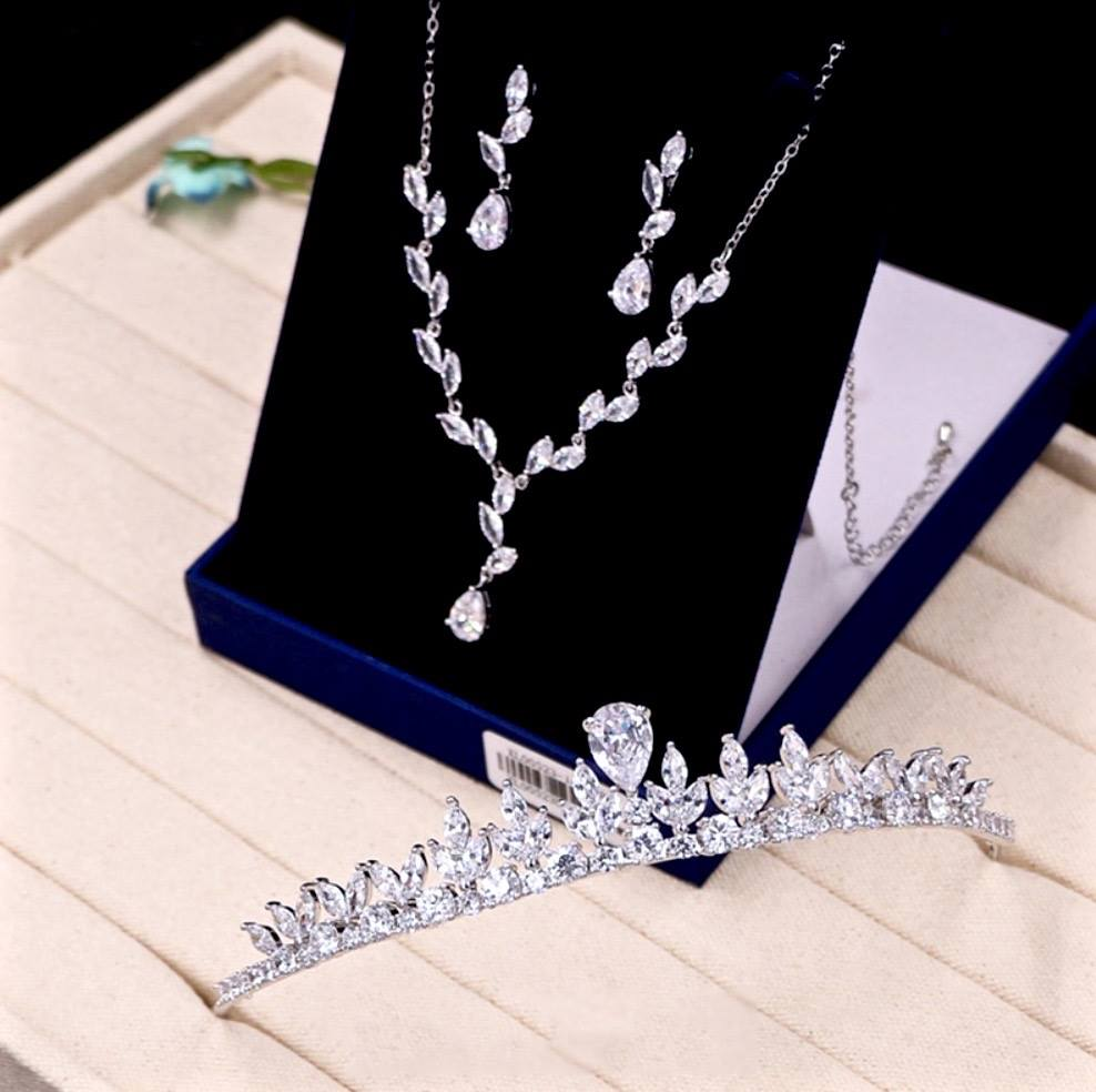 """Ivelina"" - Silver Cubic Zirconia 3-Piece Bridal Jewelry Set With Tiara"