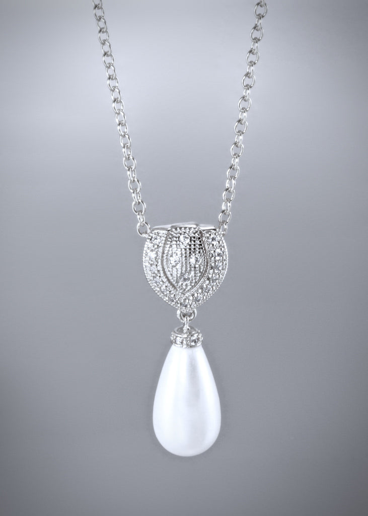 """Rania"" - Pearl Bridal Necklace - Available in Gold and Silver"