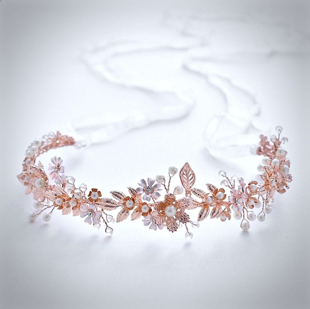"""Mariah"" - Rose Gold Pearl and Crystal Bridal Headband With Matching Earrings"