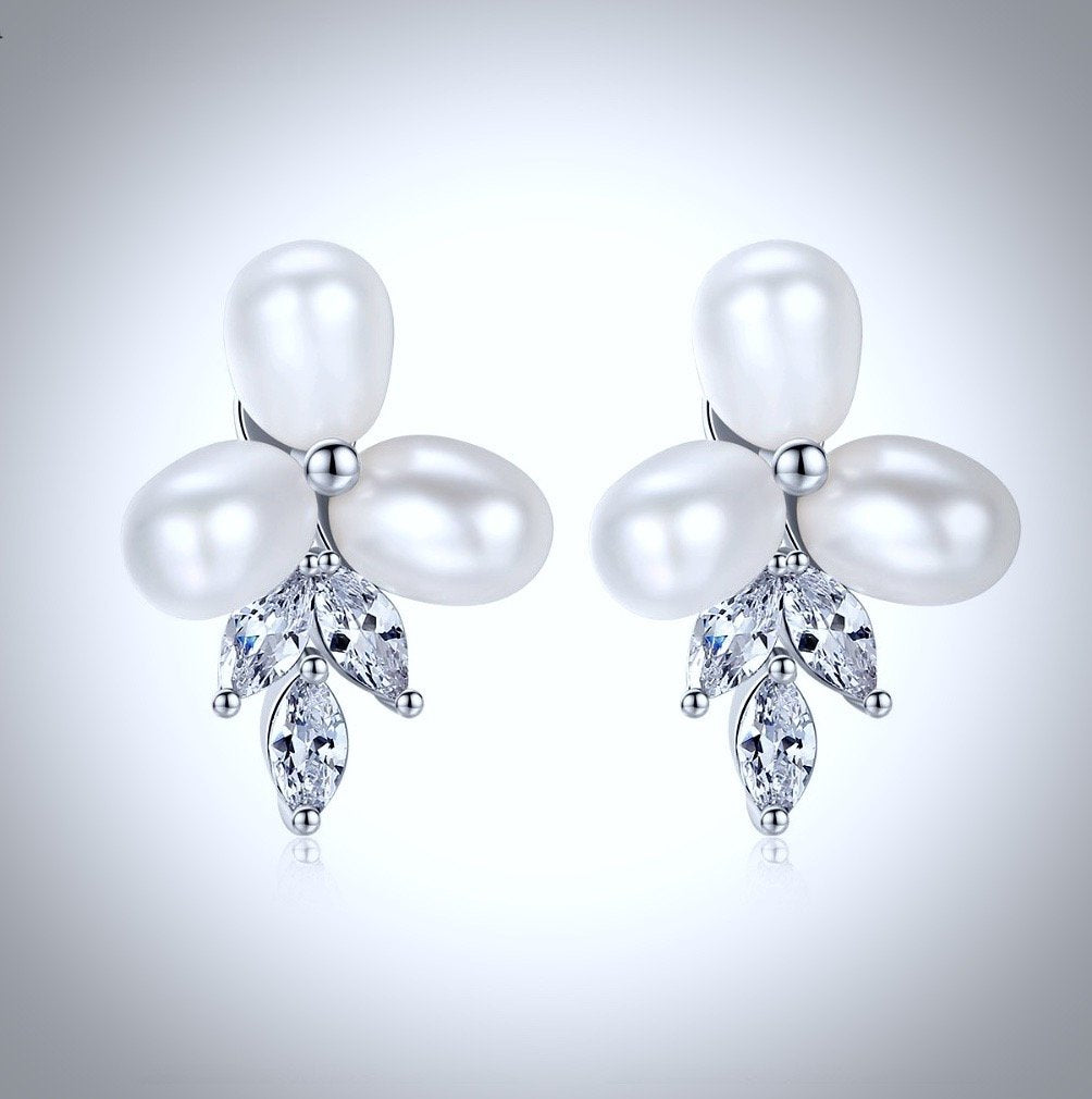 """Lena"" - Freshwater Pearl and Cubic Zirconia Bridal Jewelry Set"
