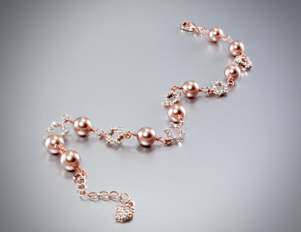 """Lucia"" - Swarovski Pearl and Rose Gold Bridal Bracelet"