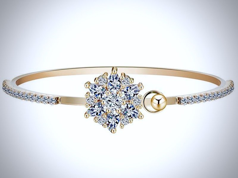 """Elsa"" - Cubic Zirconia Gold Bangle Bracelet"