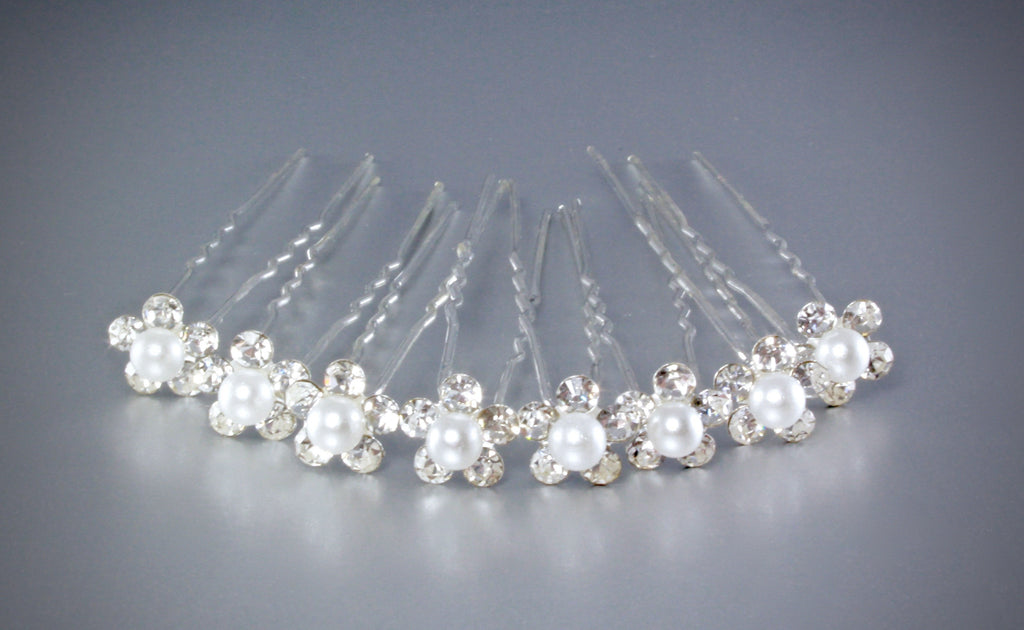 """Leia"" - Pearl and Crystal Bridal Hair Pins - Set of 10"
