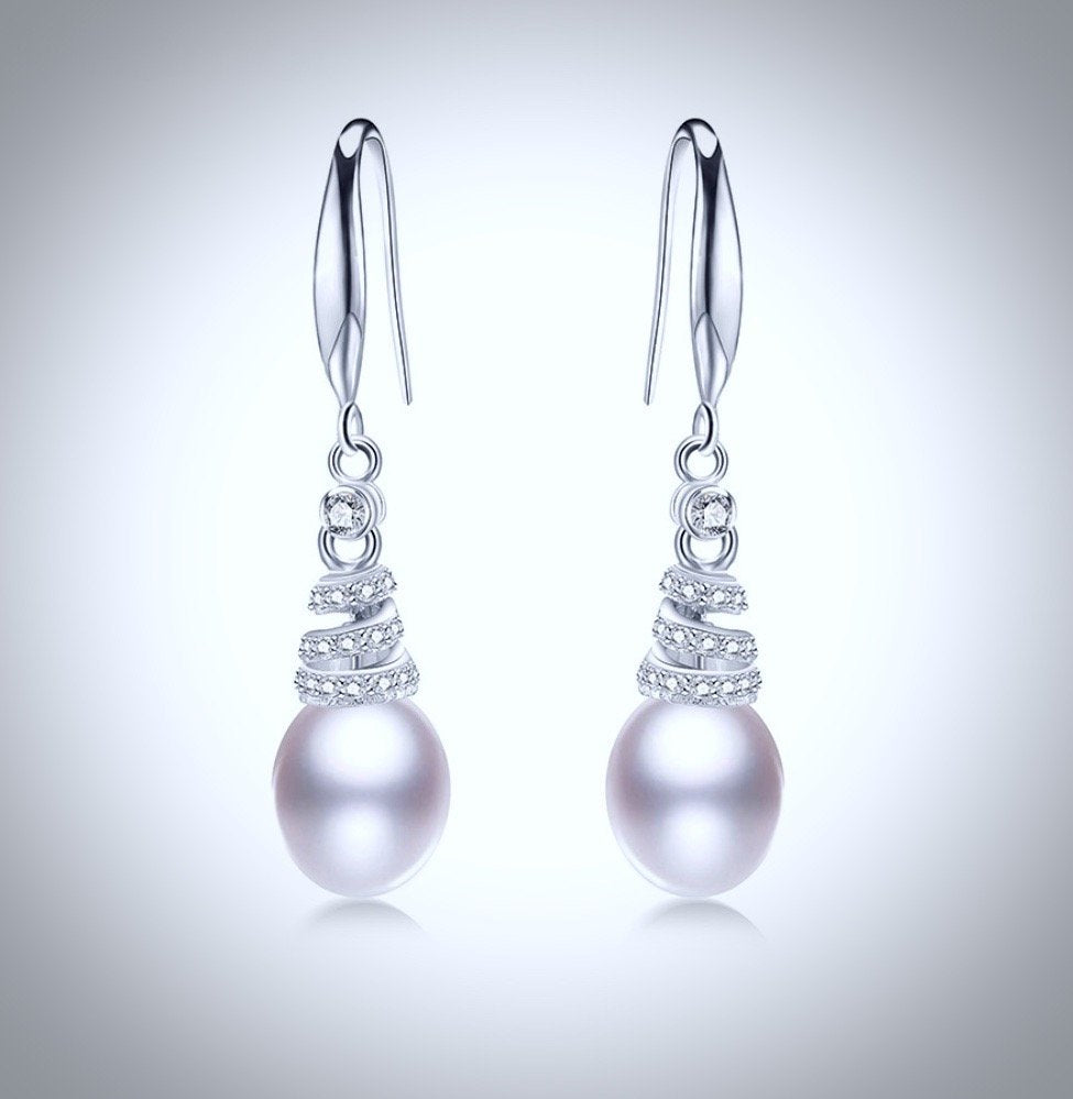 """Kalena"" - Freshwater Pearl and Sterling Silver Bridal Necklace and Earrings Set"
