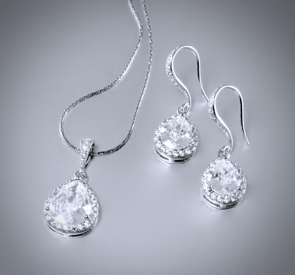 """Claire"" - Cubic Zirconia Bridal Necklace and Earrings Set"