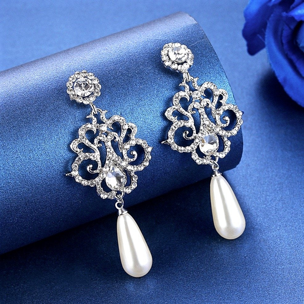 """Abby"" - Pearl and Crystal Bridal Earrings - Available in Silver and Yellow Gold"