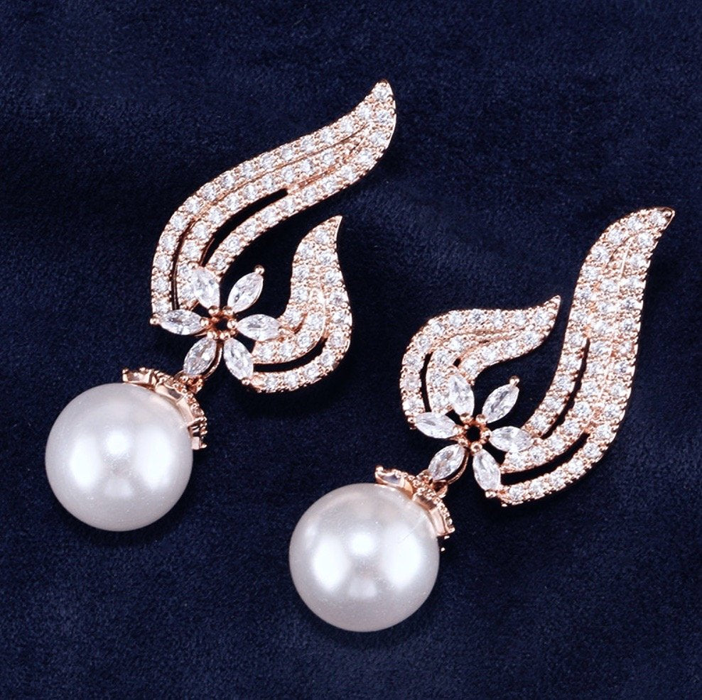 Wedding Jewelry - Pearl and Cubic Zirconia Bridal Earrings - Available in Rose Gold and Silver
