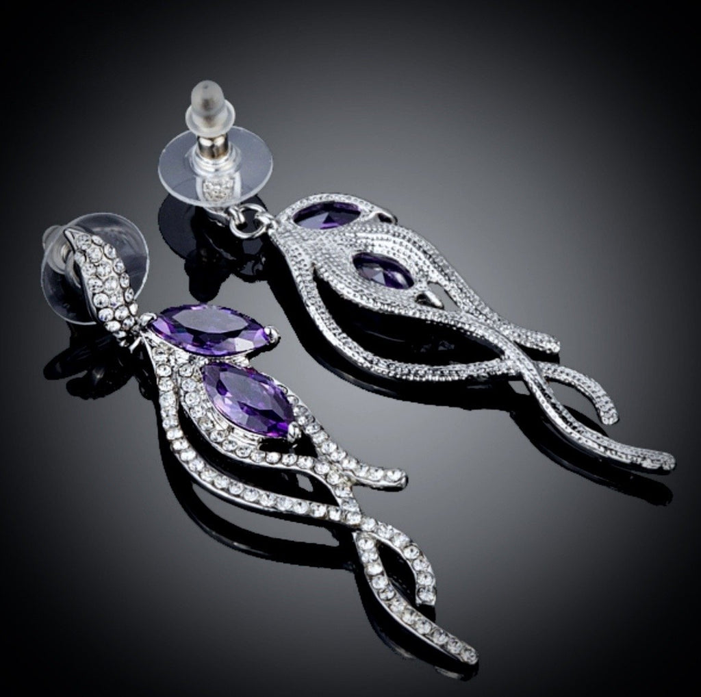"""Lilac"" - Purple Cubic Zirconia Earrings"
