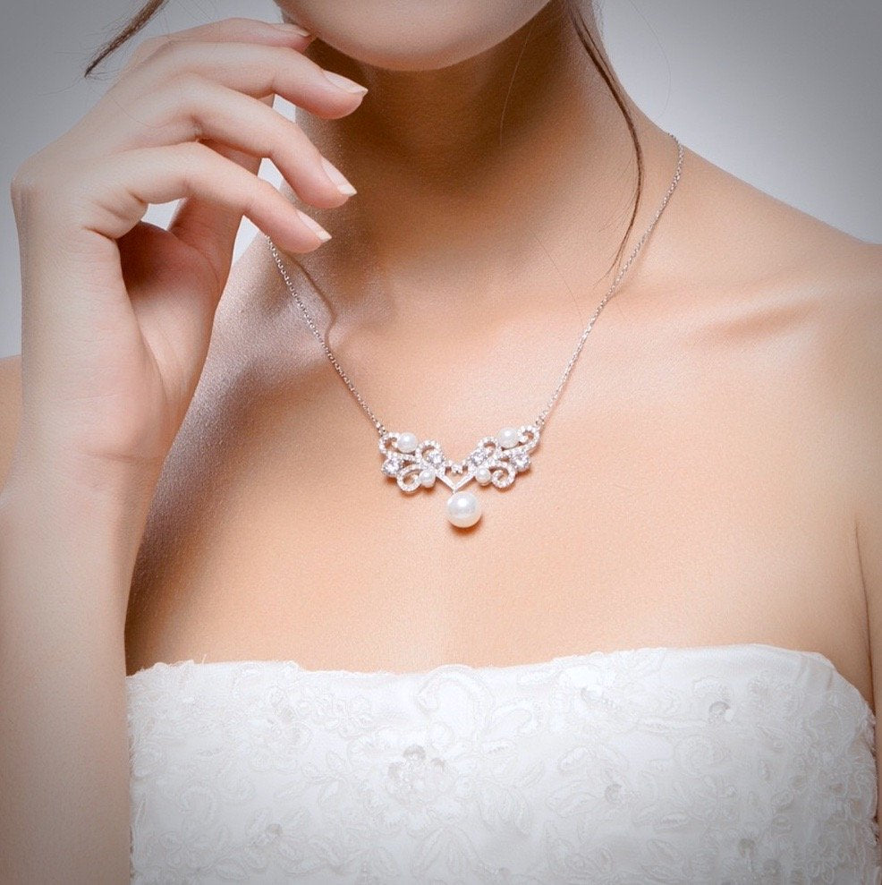 """Joy"" - Pearl and Cubic Zirconia Bridal Necklace"