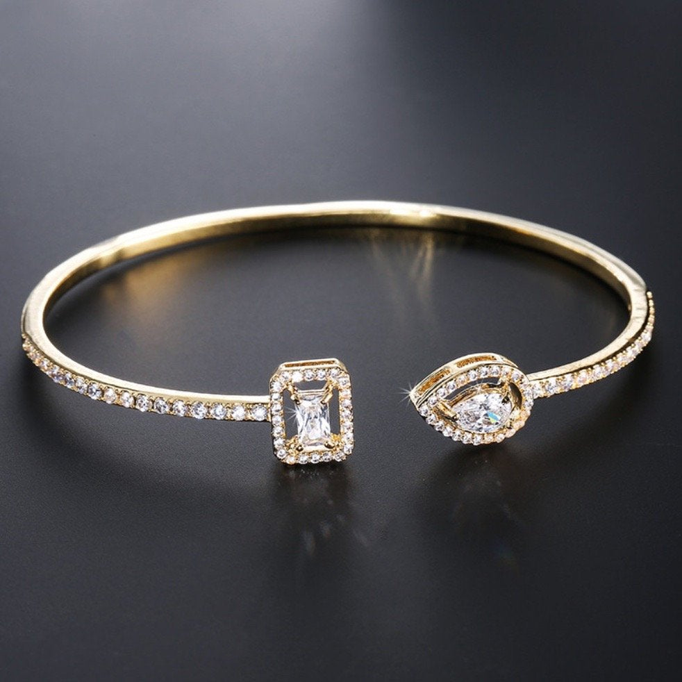 """Carrie"" - Cubic Zirconia Cuff Bracelet - Available in Silver, Rose Gold and Yellow Gold"