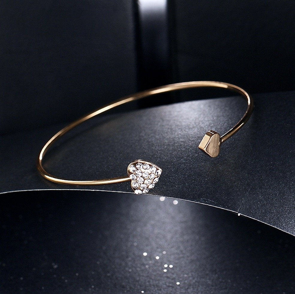"""Vivian"" - Delicate Heart Bangle Bracelet - Available in Silver and Rose Gold"