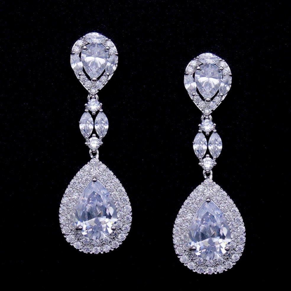 """Morning Star"" - Silver Cubic Zirconia Bridal Earrings"