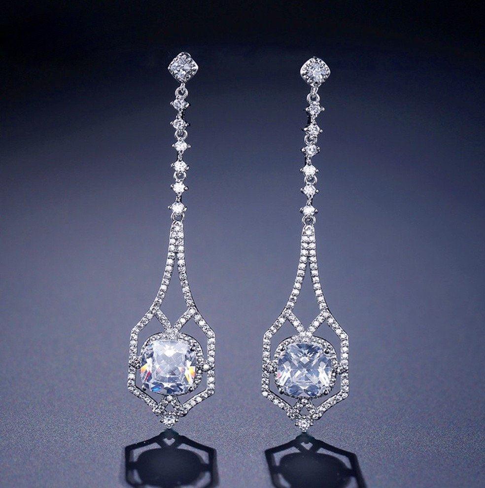 """Casey"" - Silver Cubic Zirconia Bridal Earrings"